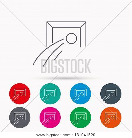 Football goalkeeper icon. Soccer sport sign. Team goal game symbol. Linear icons in circles on white background.