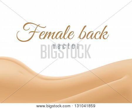 Part of naked female back on a white background