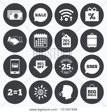 Wifi, calendar and mobile payments. Sale discounts icon. Shopping, handshake and cash money signs. 25, 70 and 80 percent off. Special offer symbols. Sms speech bubble, go to web symbols.