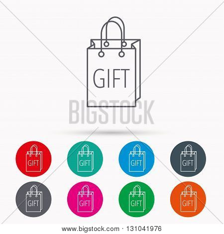 Gift shopping bag icon. Present handbag sign. Linear icons in circles on white background.