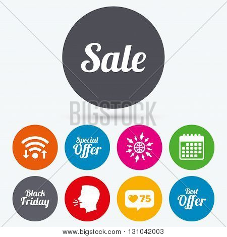 Wifi, like counter and calendar icons. Sale icons. Best special offer symbols. Black friday sign. Human talk, go to web.