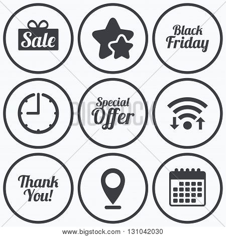 Clock, wifi and stars icons. Sale icons. Special offer and thank you symbols. Gift box sign. Calendar symbol.
