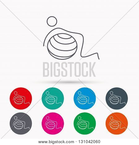 Gymnastic ball icon. Pilates fitness sign. Sport workout symbol. Linear icons in circles on white background.