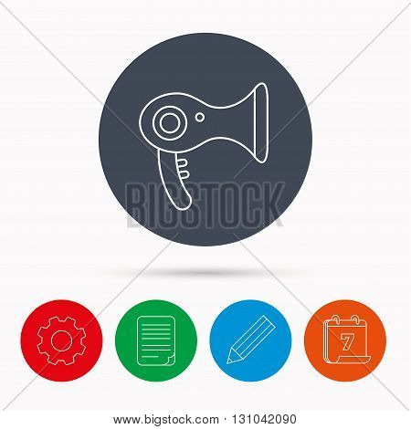 Hairdryer icon. Electronic blowdryer sign. Hairdresser equipment symbol. Calendar, cogwheel, document file and pencil icons.