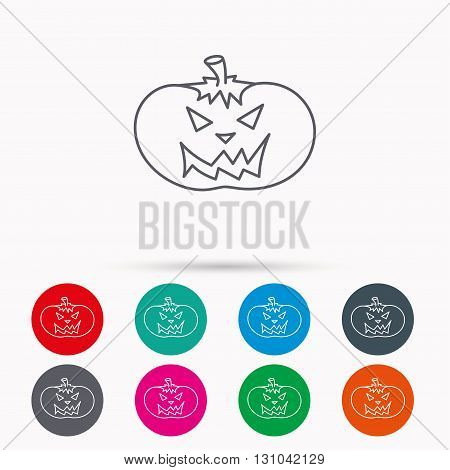 Halloween pumpkin icon. Scary smile sign. Linear icons in circles on white background.
