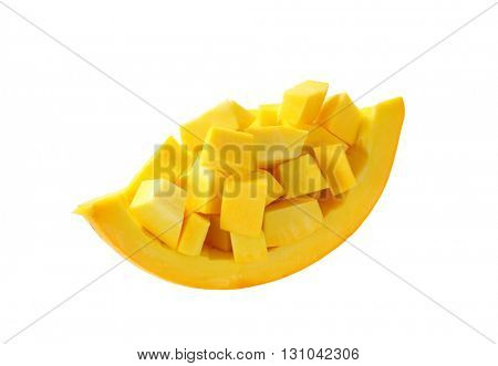 pile of pumpkin pieces isolated on white
