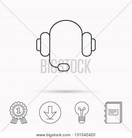 Headphones with microphone icon. Musical notes signs. Download arrow, lamp, learn book and award medal icons.