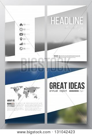Set of business templates for brochure, magazine, flyer, booklet or annual report. Colorful backdrop, blurred background, sea landscape, modern vector texture.
