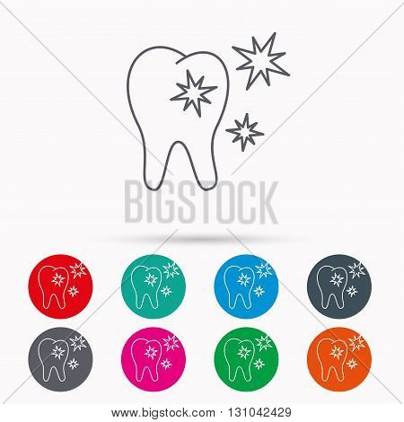 Healthy tooth icon. Dental protection sign. Linear icons in circles on white background.