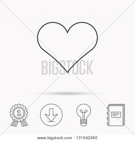 Heart icon. Love sign. Life symbol. Download arrow, lamp, learn book and award medal icons.