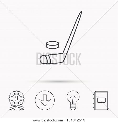 Ice hockey icon. Professional sport game sign. Download arrow, lamp, learn book and award medal icons.