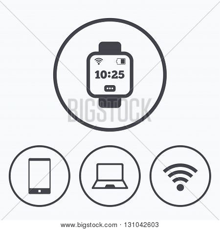 Notebook and smartphone icons. Smart watch symbol. Wi-fi and battery energy signs. Wireless Network symbol. Mobile devices. Icons in circles.