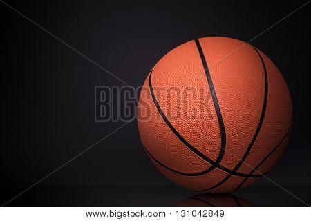 Basketball ball isolated on black background