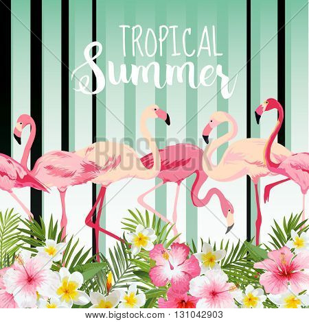 Flamingo Bird Background. Retro Pattern. Tropical Background. Tropical Flower. Floral Background. Vector Background.