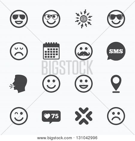 Calendar, go to web and like counter. Smile icons. Happy, sad and wink faces signs. Sunglasses, mustache and laughing lol smile symbols. Sms speech bubble, talk symbols.