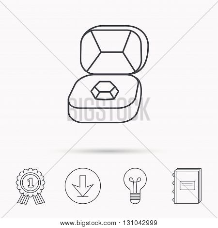 Brilliant jewellery icon. Engagement sign. Download arrow, lamp, learn book and award medal icons.