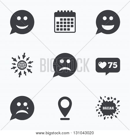 Calendar, like counter and go to web icons. Speech bubble smile face icons. Happy, sad, cry signs. Happy smiley chat symbol. Sadness depression and crying signs. Location pointer.
