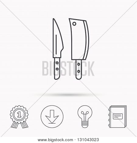 Butcher and kitchen knives icon. Chef tools symbol. Download arrow, lamp, learn book and award medal icons.