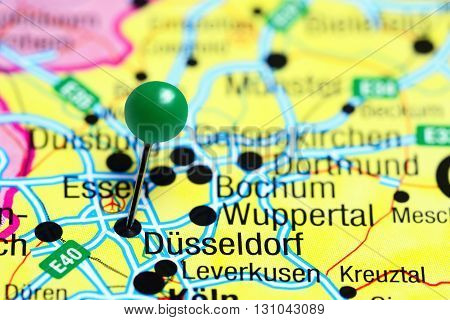 Dusseldorf pinned on a map of Germany