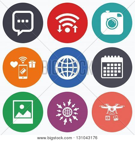 Wifi, mobile payments and drones icons. Social media icons. Chat speech bubble and world globe symbols. Hipster photo camera sign. Landscape photo frame. Calendar symbol.