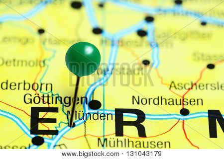 Munden pinned on a map of Germany