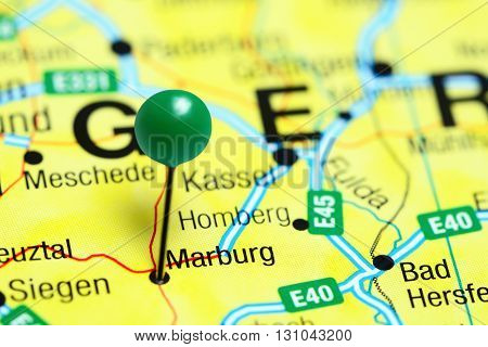 Marburg pinned on a map of Germany