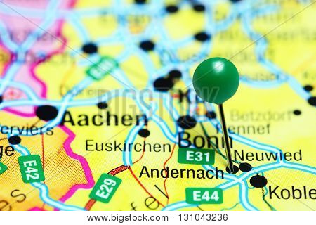 Andernach pinned on a map of Germany