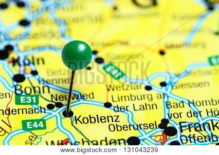 Koblenz pinned on a map of Germany