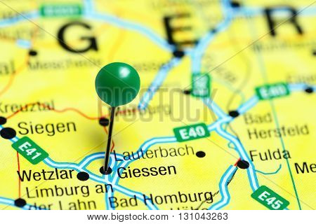 Giessen pinned on a map of Germany