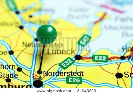 Norderstedt pinned on a map of Germany