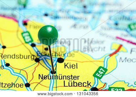 Neumunster pinned on a map of Germany