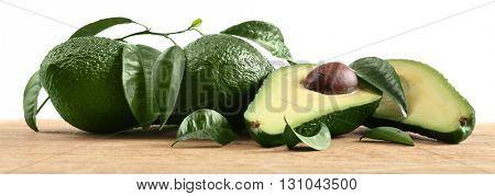 Fresh avocados on the table, closeup