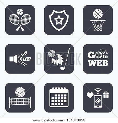 Mobile payments, wifi and calendar icons. Tennis rackets with ball. Basketball basket. Volleyball net with ball. Golf fireball sign. Sport icons. Go to web symbol.