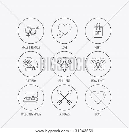 Love heart, gift box and wedding rings icons. Bow and engagement linear signs. Valentine amour arrows, brilliant flat line icons. Linear colored in circle edge icons.