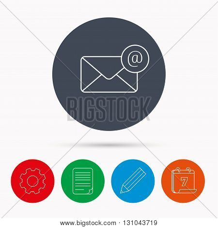 Envelope mail icon. Email message with AT sign. Internet letter symbol. Calendar, cogwheel, document file and pencil icons.