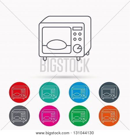 Microwave oven icon. Kitchen appliance sign. Linear icons in circles on white background.