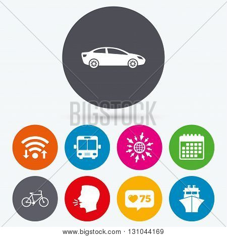 Wifi, like counter and calendar icons. Transport icons. Car, Bicycle, Public bus and Ship signs. Shipping delivery symbol. Family vehicle sign. Human talk, go to web.