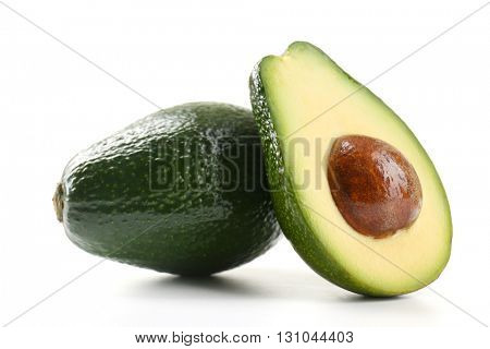 Half of fresh avocado isolated on white