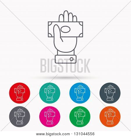 Money icon. Cash in giving hand sign. Payment symbol. Linear icons in circles on white background.