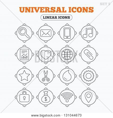 Linear icons with direction arrows. Universal icons. Smartphone, mail and musical note. Heart, globe and share symbols. Paperclip, scissors and water drop. Circle buttons.