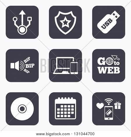 Mobile payments, wifi and calendar icons. Usb flash drive icons. Notebook or Laptop pc symbols. Smartphone device. CD or DVD sign. Compact disc. Go to web symbol.