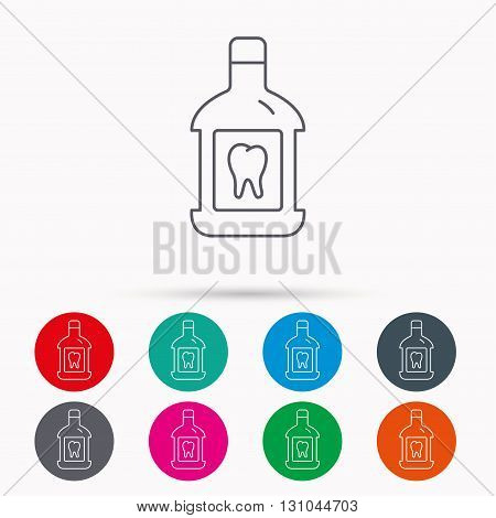 Mouthwash icon. Oral antibacterial liquid sign. Linear icons in circles on white background.