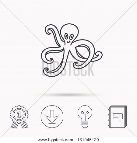 Octopus icon. Ocean devilfish sign. Download arrow, lamp, learn book and award medal icons.