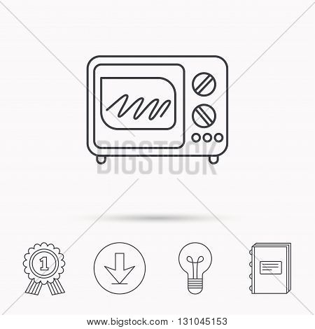 Microwave oven icon. Kitchen appliance sign. Download arrow, lamp, learn book and award medal icons.