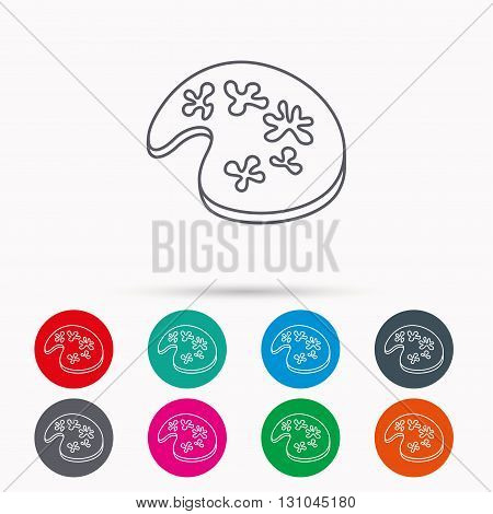 Painting icon. Artistic tool sign. Linear icons in circles on white background.