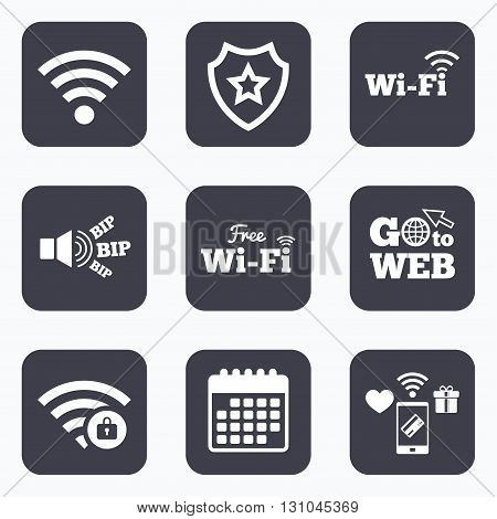 Mobile payments, wifi and calendar icons. Free Wifi Wireless Network icons. Wi-fi zone locked symbols. Password protected Wi-fi sign. Go to web symbol.