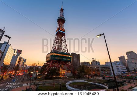 Sapporo Tv Tower At Sunset