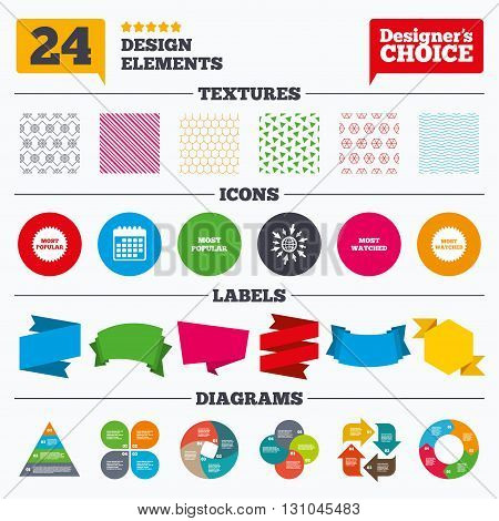 Banner tags, stickers and chart graph. Most popular star icon. Most watched symbols. Clients or users choice signs. Linear patterns and textures.