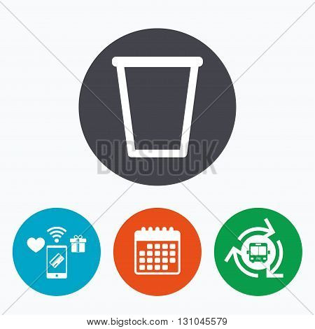 Recycle bin sign icon. Bin symbol. Mobile payments, calendar and wifi icons. Bus shuttle.