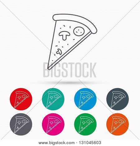 Pizza icon. Piece of Italian bake sign. Linear icons in circles on white background.